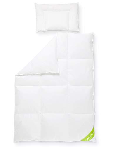 Koru Kids®️ Kinder Bettdecken-Set Premium, 100 x 135cm mit Kopfkissen 40 x 60 cm, 100% deutsche Daunen, waschbar bis 60° Daunenbettdecke