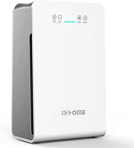 i@HOME Luftreiniger Air Purifier mit Lonisator, HEPA Aktivkohlefilter mit Automatischen Reinigungsmodus, Filtert Mikroben in Der Luft Rauch Zigaretten- und Haustiergeruch CADR 270m³/ h 99,97%