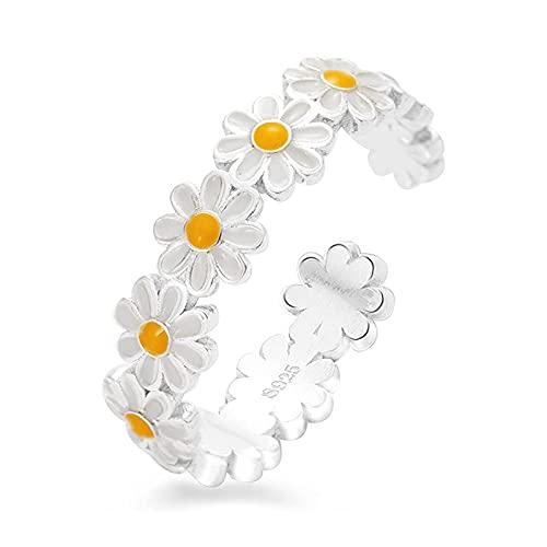 AMTBBK Daisy Blumen Ring 925 Sterling Silber Stapelbare Fingerring Für Frauen Mädchen Charme Schmuck