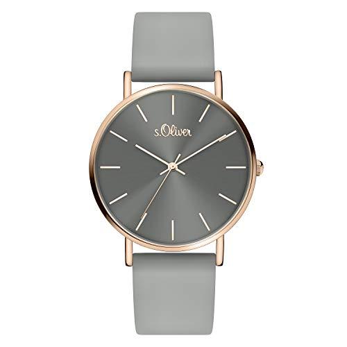 s.Oliver Damen Analog Quarz Armbanduhr mit Silikonband mit Silikon SO-4186-PQ