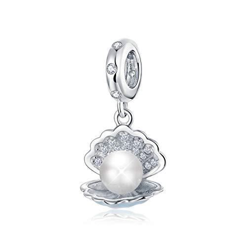 Charm-Anhänger aus 925er Sterlingsilber, Perle in Muschel, kompatibel mit Pandora-Armbändern und Halsketten