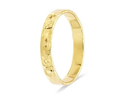 fajno Goldring Damen, Goldring Herren aus 750 Gold | Goldschmuck 18k Echtgold Ring | Statement Ring, Hochzeitsring, Ehering, gehämmert