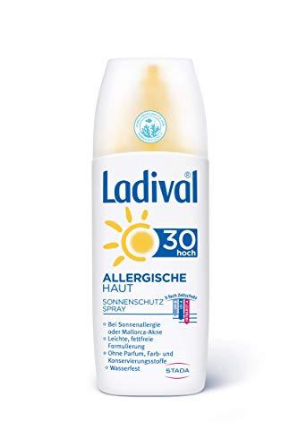 LADIVAL Allergische Haut Sonnenschutz Spray LSF 30 - Parfümfreies, Sonnenspray für Allergiker - ohne Farb- und Konservierungsstoffe, wasserfest, 150 ml