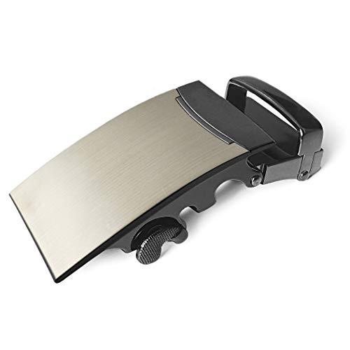 Ganzoo Gürtelschnalle in elegantem Design NUR für Gürtel mit RASTERSCHIENE, hochwertige Gürtelschließe, in Edelstahloptik, Wechselschnalle, Automatikschnalle für Wechselgürtel – Marke