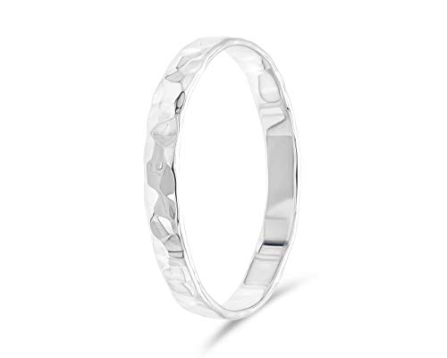 fajno Gehämmerter Silberring Damen und Herren | Silberschmuck, 925 Sterling Silber | Bandring, Breiter Ring