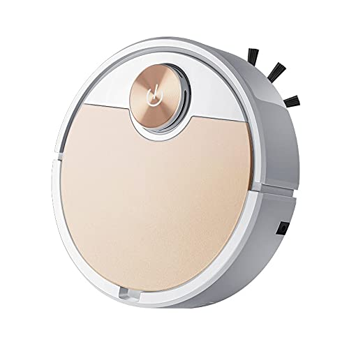 Robot Vacuum Cleaner 2 in 1 , 2500Pa, App Monitoring, Multi-Level Mapping, Carpet Detection, Floating Rubber Brush, Intelligent Lifting, for Pets and Hard Floors (Gold)