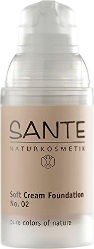SANTE Naturkosmetik Soft Cream Foundation No. 02 light beige, Samtig, ebenmäßiger Teint, Mit Mineralpigmenten, Cremige Textur, Vegan, 30ml