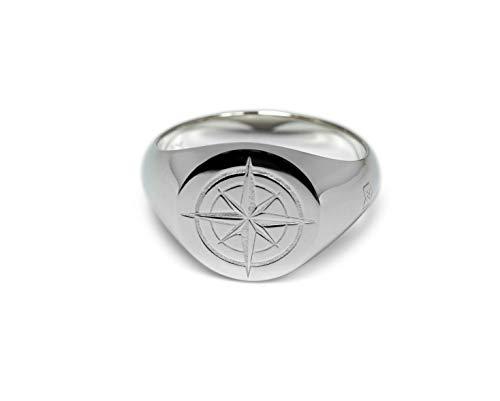Herren Ring Silber mit Kompass Wappen Gravur 925er Sterling Silber rund poliert maritim   Massiver Männerschmuck mit Geschenkverpackung (56)