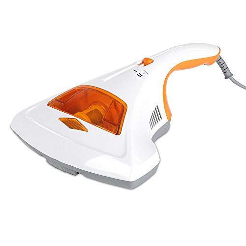 Milben-Handstaubsauger UV-C Licht, Sterilisation u. Reinigung, Matratzensauger, HEPA-Filtration vernichtet bis zu 99,9% Aller Milben, ohne Beutel, Starke Saugleistung, für Allergiker (weiß/orange)