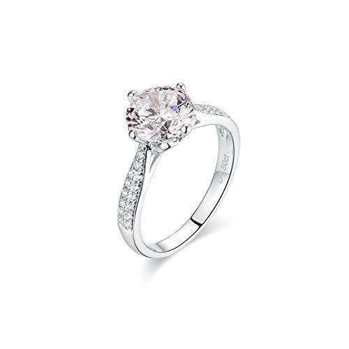 Bishilin Trauringe 585 Weißgold 4-Steg-Krappenfassung Moissanit 1.2ct Eheringe Nickelfrei Hochzeitsring mit Diamant Gr.62 (19.7)