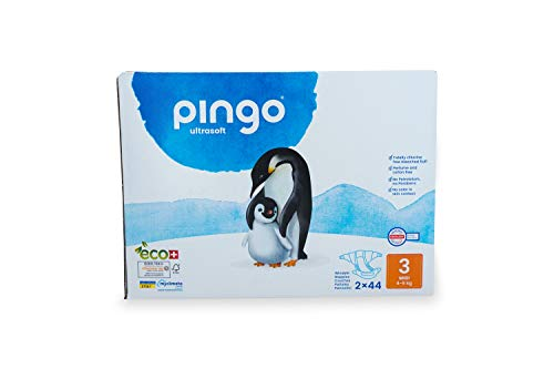 Pingo Windeln, Größe 3, Midi, 2 Packungen mit 44 Stück, 4-9 kg, für Babys, hypoallergen, parfümiert, maximale Absorption, umweltfreundliche Windeln, empfindliche Haut, weiß