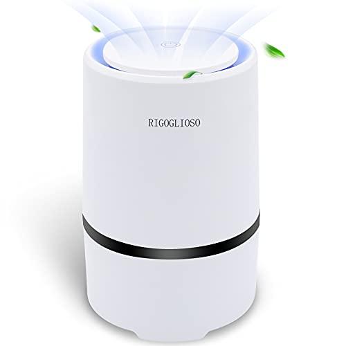 RIGOGLIOSO Luftreiniger mit HEPA Filter, Luftfilter Air Purifier für 99,97% Filterleistung gegen Staub Pollen Rauch für Allergiker Raucher Wohnung Schlafzimmer, Tragbare Design Nachtlicht Schlafmodus