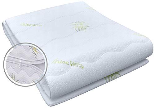 Best For You Matratzenbezug Aloe Vera geeignet für Matratzen 14 bis 16 cm für Allergiker Reißverschluss Bezug (90x200x14cm)