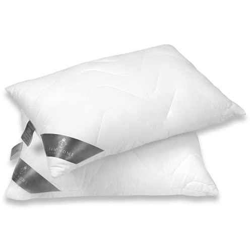 FAM Home Kissen 50x70 2er Set Weiches Mikrofaser Anpassbar - Kopfkissen 50x70 Allergiker mit Optimaler Stütze - Innenkissen Atmungsaktiv mit Reißverschluss, Zusätzlicher Beutel mit Füllmaterial