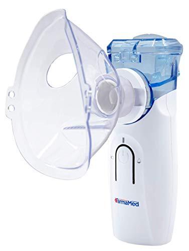 FARMAMED Inhalator Aerosol Mesh Vernebler Tragbar Geräuscharmes, für Kinder und Erwachsene, mit Mundstück und Masken, elektrischer Inhalator, doppelte Stromversorgung, mit USB-Kabel wiederaufladbar