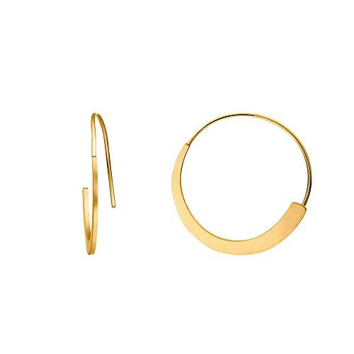Heideman Ohrringe Damen Curve aus Edelstahl goldfarbend matt Ohrstecker Creolen hängend für Frauen gold ho24746-7