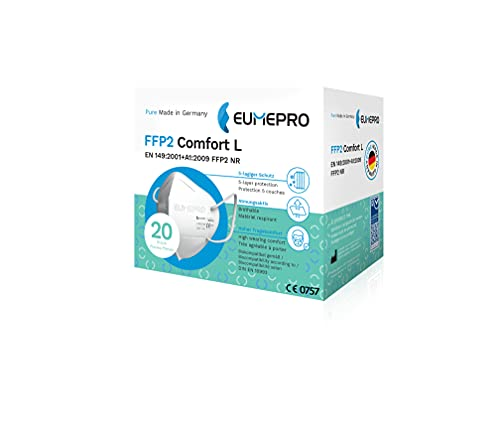 EUMEPRO FFP2 Comfort L – 20 Stück FFP2 Masken hergestellt UND Zertifiziert aus Deutschland [EN 149:2001+A1:2009, CE 0757]