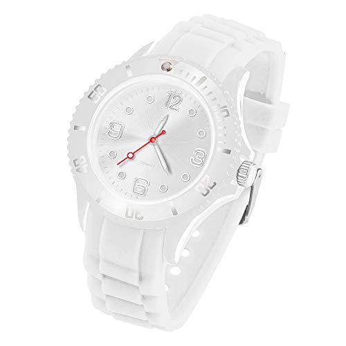 Taffstyle Armbanduhr Silikon Analog Quarz Uhr Farbige Sport Sportuhr Damen Herren Kinder Unisex 39mm Weiß