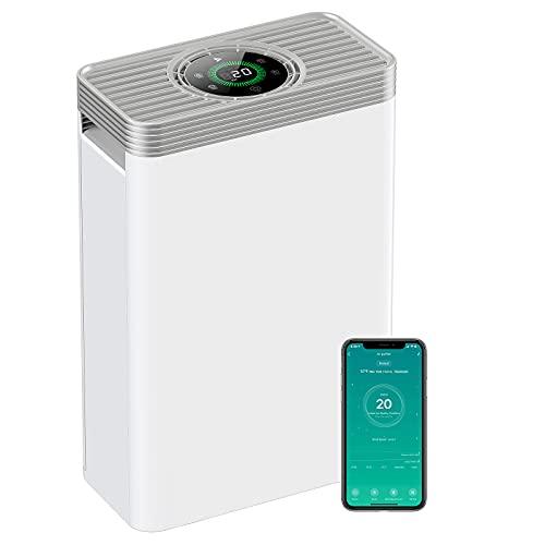 Luftreiniger HEPA H13 Leiser Luftfilter, Air Purifier entfernt bis zu 99,97% der Pollen Haustier Hautschuppe usw. Bis zu 78㎡, Funktioniert mit Alexa, Timer Schlafmodus 22dB Leiser LED Touchscreen