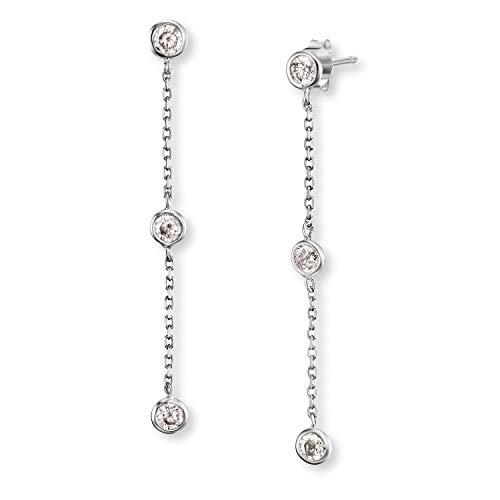Engelsrufer - Moonlight Silber Ohrringe für Damen, lange Hängeohrringe aus rhodiniertem 925 Sterlingsilber hängend, Vintage Ohrschmuck mit weißen Zirkonia Steinen nickelfrei