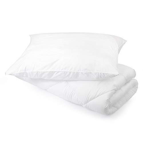 H&F | Bettdecke und Kissen Set 135x200 4 Jahreszeiten + 80x80 Kopfkissen | Schlafkissen und Steppdecken bezug: 100% Mikrofaser | Oeko-TEX Zertifiziert | Füllung: Schlafdecke 1000g, Schlafkissen 1100g