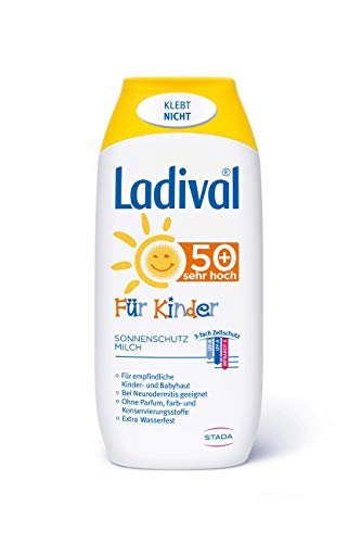 Ladival Kinder Sonnenmilch LSF 50+ – Parfümfreie Sonnenschutzlotion für Kinder – ohne Farb- und Konservierungsstoffe – wasserfest – 1 x 200 ml