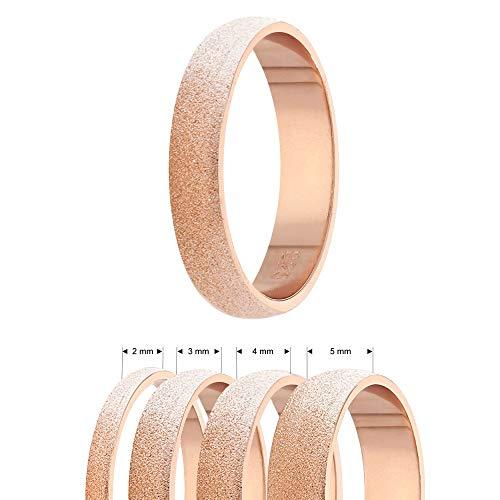 Treuheld® | 925 Sterling Silber Ring | Roségold | Ringgröße 48 | Breite 2mm | Damen & Herren | Diamant Optik/Matt/Sandgestrahlt | Finger-Ring