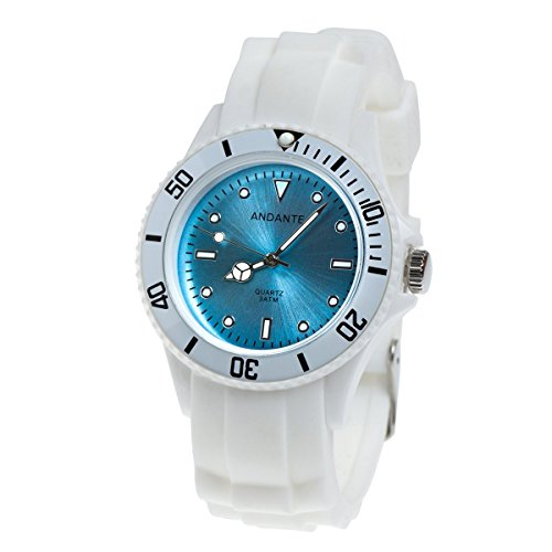 Andante Sportliche wasserdichte Unisex Armbanduhr Silikon Uhr Quarz 3ATM Weiss BLAU AS-5001