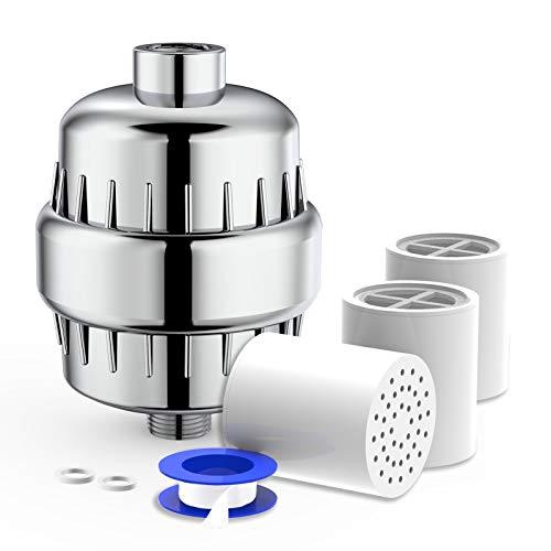 Rainsworth 20-Schichten Duschfilter, Kalkfilter Dusche Wasserfilter Wasserhahn, Duschkopf Wasserfilter mit 3 Filterkartusche Zum Entfernen von Chlor und Schwermetallen, Wasser erweichen