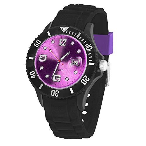 Taffstyle Damen Herren Sportuhr Armbanduhr Silikon Sport Watch Farbiges Ziffernblatt mit Datum Analog Quarz Uhr Schwarz Lila