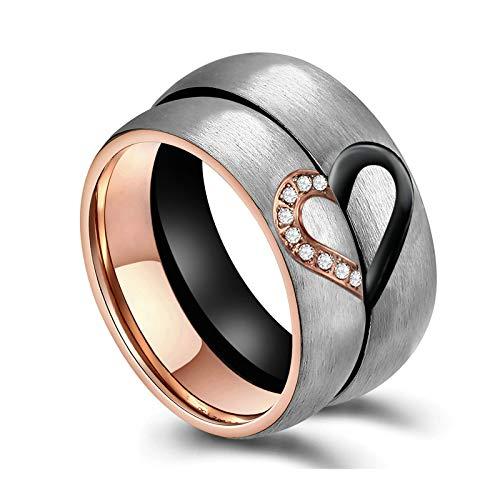 Bishilin Paar Ringe Verlobung Set, 6MM Eheringe Edelstahl mit Herz Puzzle Zirkonia Hochzeitsringe Trauringe Nickelfrei Damen Gr.52 (16.6) & Herren Gr.60 (19.1)