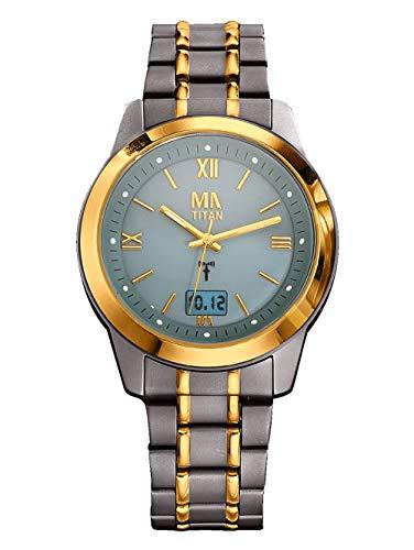 Meister Anker Herren Funkuhr – Armbanduhr mit Analog-Anzeige, Titan-Uhr mit Glieder-Armband, Metall-Uhr mit wasserdichtem Gehäuse, in Bicolor