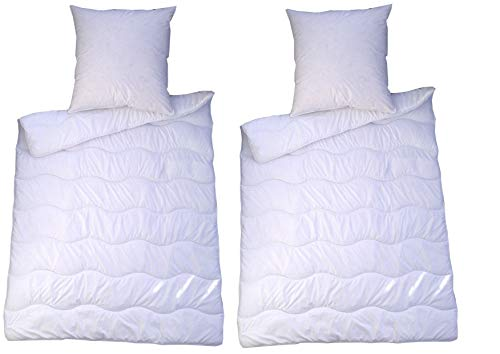 MB Warenhandel24 4 teilig Premium Bettenset Weiss Allergiker Steppbett Steppbettdecke Bettwäsche Bettdecke 2X 135x200 cm & Kopfkissen 2X 80x80 cm Bezug 100% Polyester Füllung: Klimafaser (4 teilig)