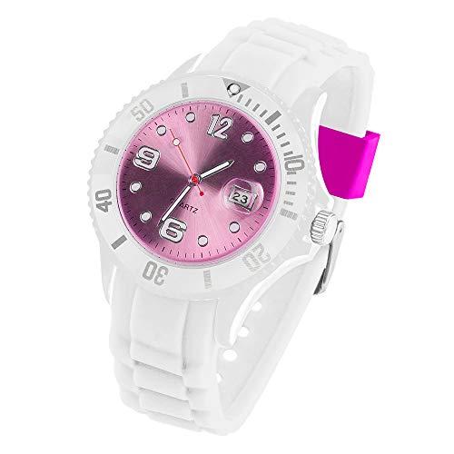Taffstyle Armbanduhr Silikon Analog Quarz Uhr Farbige Sport Bunte Sportuhr Ziffernblatt mit Datum Damen Herren Unisex Weiß Pink