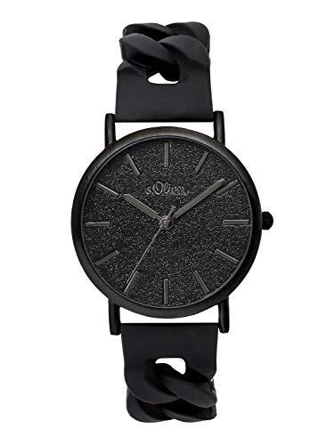 s.Oliver Damen Analog Quarz Armbanduhr mit Silikonarmband SO-3399-PQ