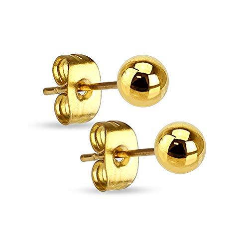 Treuheld® | Goldene Kugel Ohrstecker - Edelstahl Ohrringe mit Kugel in Gold - Kugel: 3mm - Ohrring für Männer & Frauen - Steckverschluss - Perle Ohrschmuck Ohrring Ohrpiercing - [01.] - 3mm