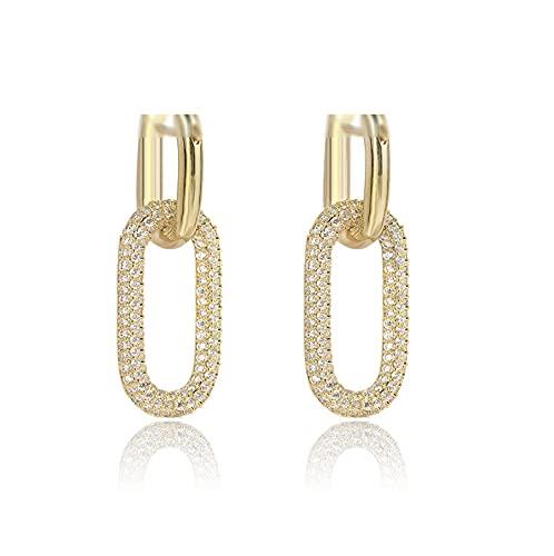 Hedoné - Oval Hoop Ohrringe für Damen mit Anhänger mit kubischen Zirkonia - Geschenkverpackung Gold gestrickt