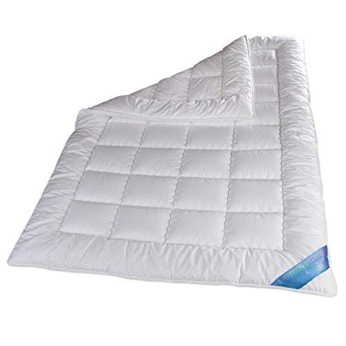 Schlafmond 2-teiliges Bettenset Medicus Clean Allergiker - Ganzjahres-Set - 135x200 cm Ganzjahresdecke + 80x80 cm Kissen - 100% Baumwolle - Weiß - Waschbar bis 95 Grad