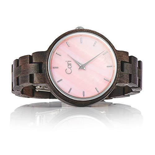 Cari Damen Frauen Holzuhr 36mm mit Schweizer Uhrwerk - Holz-Armbanduhr Kyoto-091