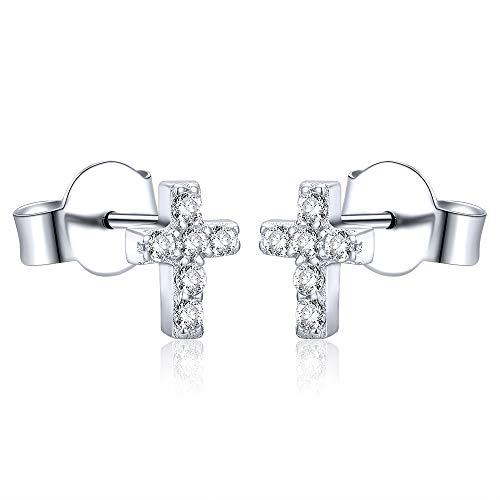 AoedeJ 934 Sterling Silber Ohrringe, Zirkonia Religiöse Kreuz Ohrringe Ohrstecker, Ohrringe MäDchen Kinder Ohrringe Schmuck Für Damen Und Herren (Stil 1)