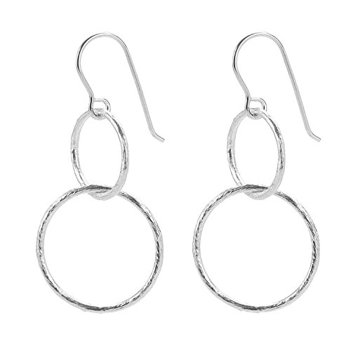 Pernille Corydon Damen Ohrringe Double Open Coin - Ohrhänger für Frauen mit 2 runden Ringen Kreisen - Echtschmuck 925er Silber vergoldet E223s