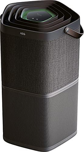 AEG AX91-404DG Luftreiniger / beseitigt 99,9% luftgetragener Bakterien / nur 17 dB(A) / Automatik-Modus / Luftqualitätsanzeige / leistungsstarke Filter / App-Steuerung / bis 92 m² / dunkelgrau