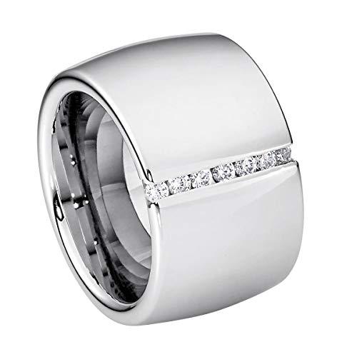 Heideman Ring Damen Lines aus Edelstahl Silber farbend poliert Damenring für Frauen mit Stein Zirkonia Weiss im Brillant Schliff 1,5mm