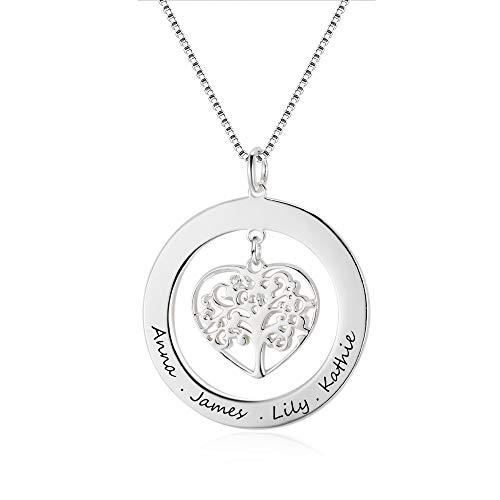 Grand Made Personalisierte Name Halskette 925 Sterling Silber Lebensbaum Anhänger mit Gravur Geschenk für Damen Mama oder Oma Schmuck Damen