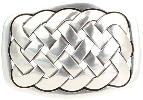 Brazil Lederwaren Gürtelschnalle Node 4,0 cm | Buckle Wechselschließe Gürtelschließe 40mm Massiv | Wechselgürtel bis 4cm | Silber