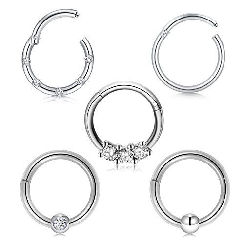Briana Williams 5stk Nasenpiercing Septum Clicker Ring Nasenring Set Chirurgenstahl 10mm Hoop Lippe Nase Ohr Piercing Ring