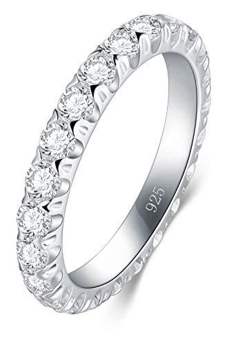 BORUO Damenring Hochzeitsringe Eheringe Verlobungsring Trauringe Zirkonia CZ Band Ewigkeitsring Silberring in 925 Sterling Silber 3mm Größe 57 (18.1mm)