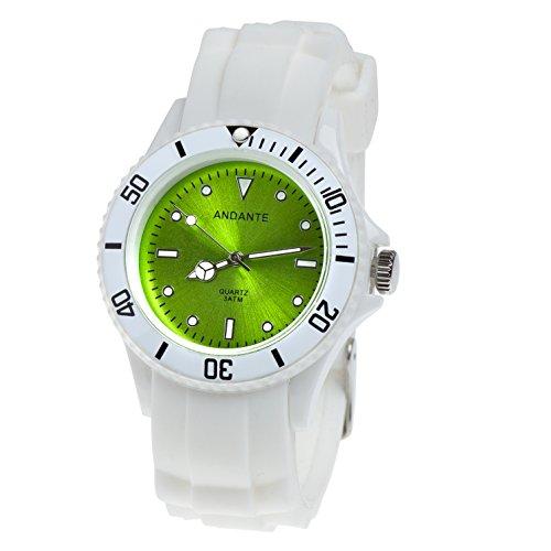Andante Sportliche wasserdichte Unisex Armbanduhr Silikon Uhr Quarz 3ATM Weiss GRÜN AS-5009