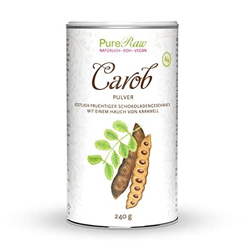 Carob-Pulver Johannisbrot-Baum-Frucht (Bio Rohkost Vegan) Kakao-Ersatz für Trinkschokolade ohne Zucker, Koffein, Fett - Natürliche Süße, Ballaststoffreich, Mineralien - Karob | PureRaw 240g