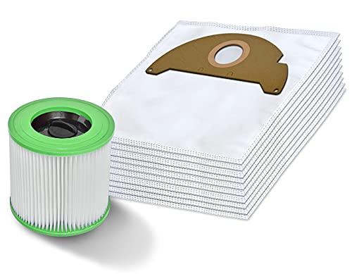Invest 10 Kärcher Staubsaugerbeutel + hepa Filter luftreiniger Kärcher WD 2 A 2054 6.904-322 waschbar Filter